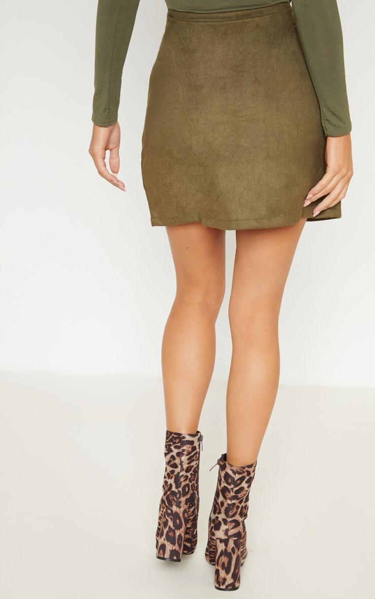 Khaki Faux Suede Lace Up Detail Mini Skirt 4