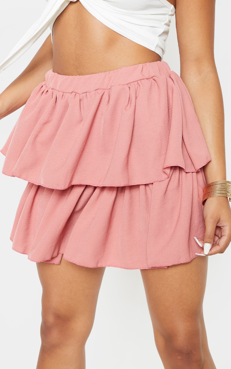 Dusty Pink Woven Frill Tiered Mini Skirt 6