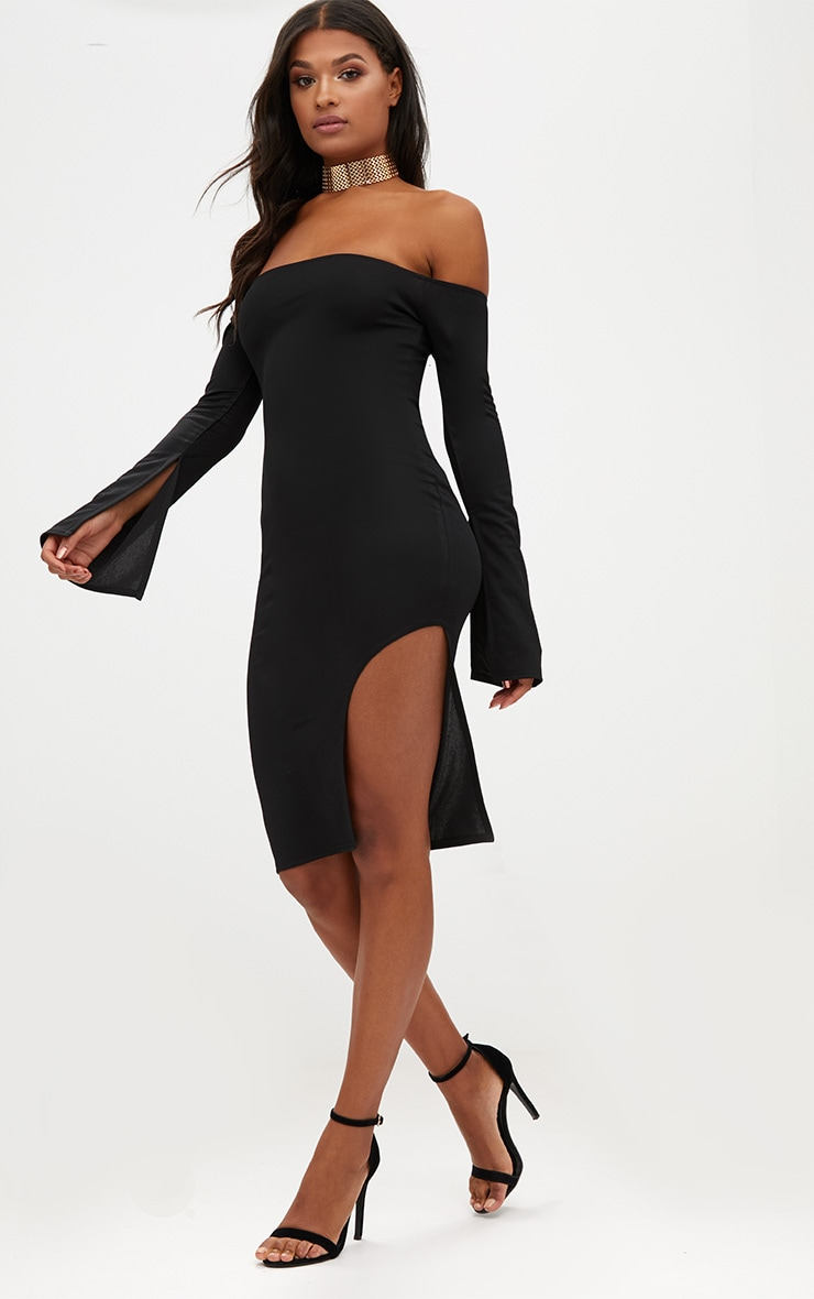 Black Bardot Split Sleeve Detail Midi Dress 4