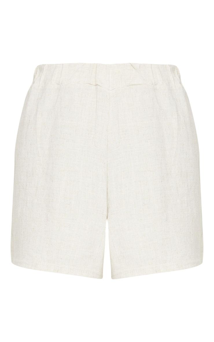 Stone Linen Feel High Waist Shorts 5
