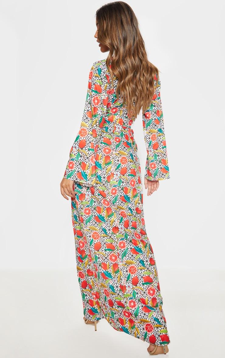 White Fruit Geometric Print Kimono Maxi Dress 2