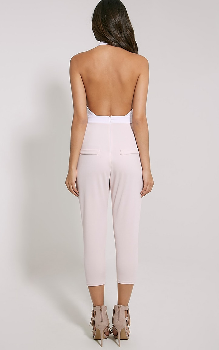 Nicki Two Tone Cream and Pink Backless Jumpsuit 2