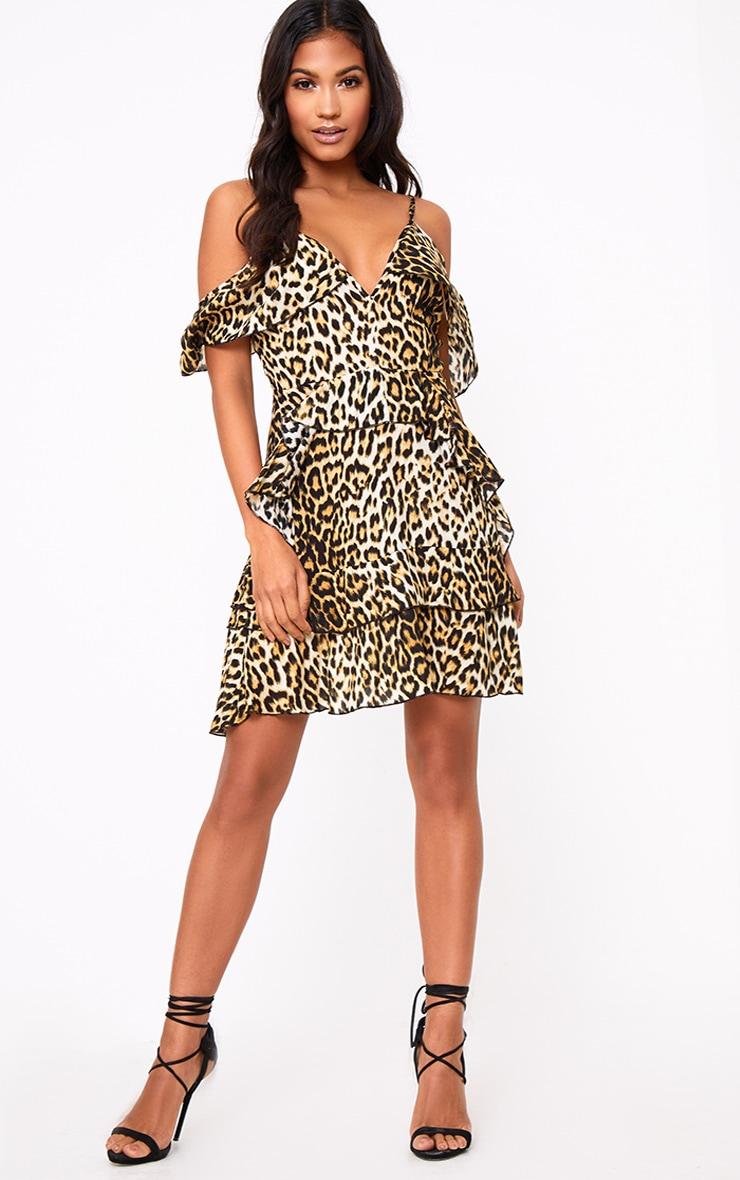 Leopard Print Ruffle Detail Shift Dress 4