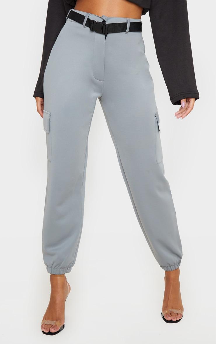 Grey Belted Scuba Cargo Trousers 3