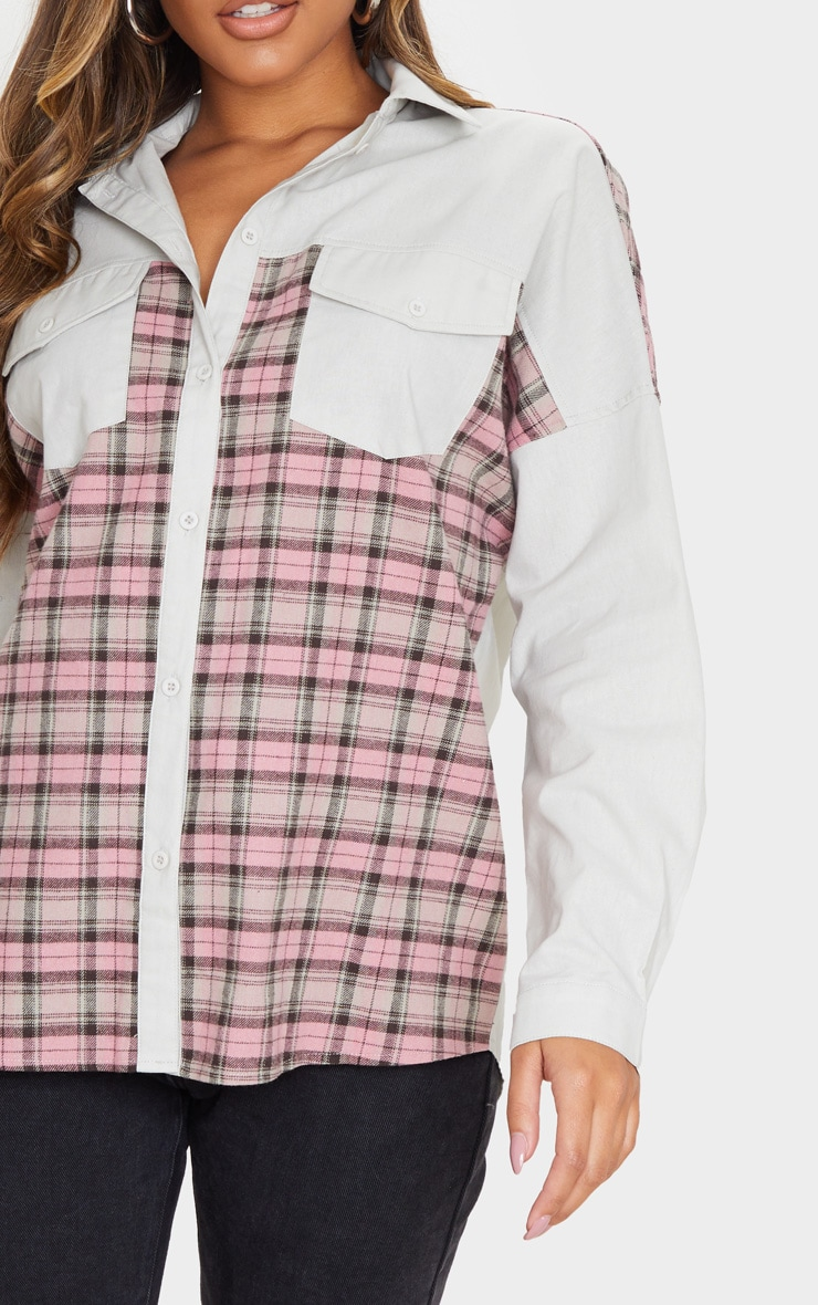 Grey Check Contrast Oversized Shirt 4