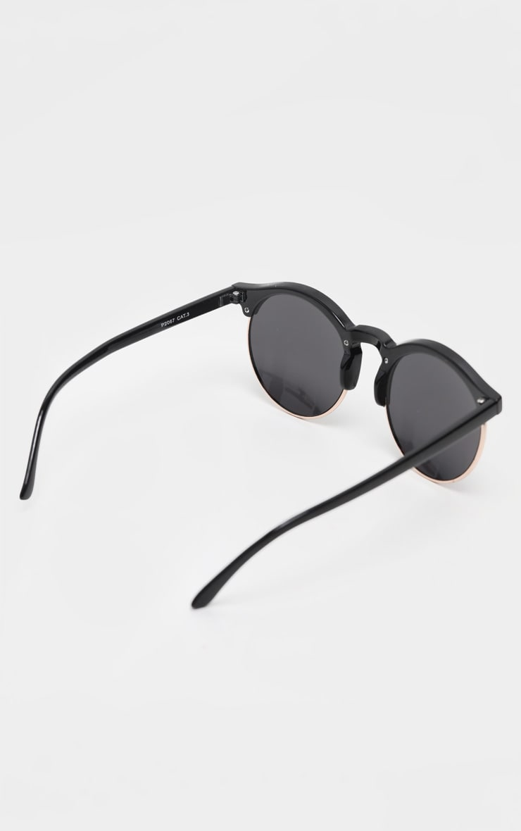 Black Classic Round Retro Sunglasses 3