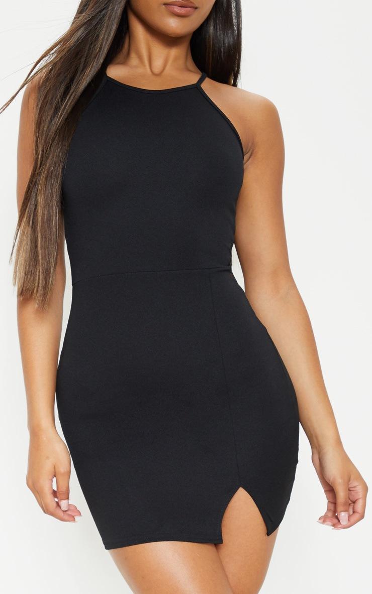Aniqah Black High Neck Split Detail Bodycon Dress 6