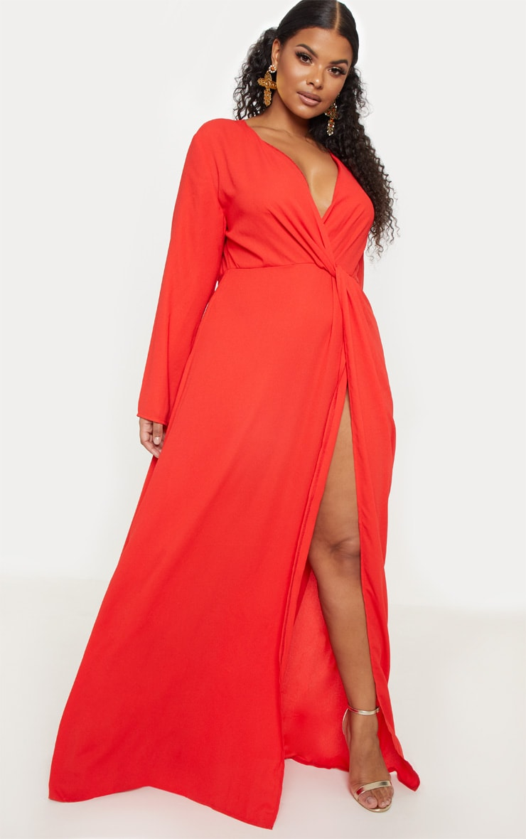 Plus Red Twist Front Maxi Dress 1