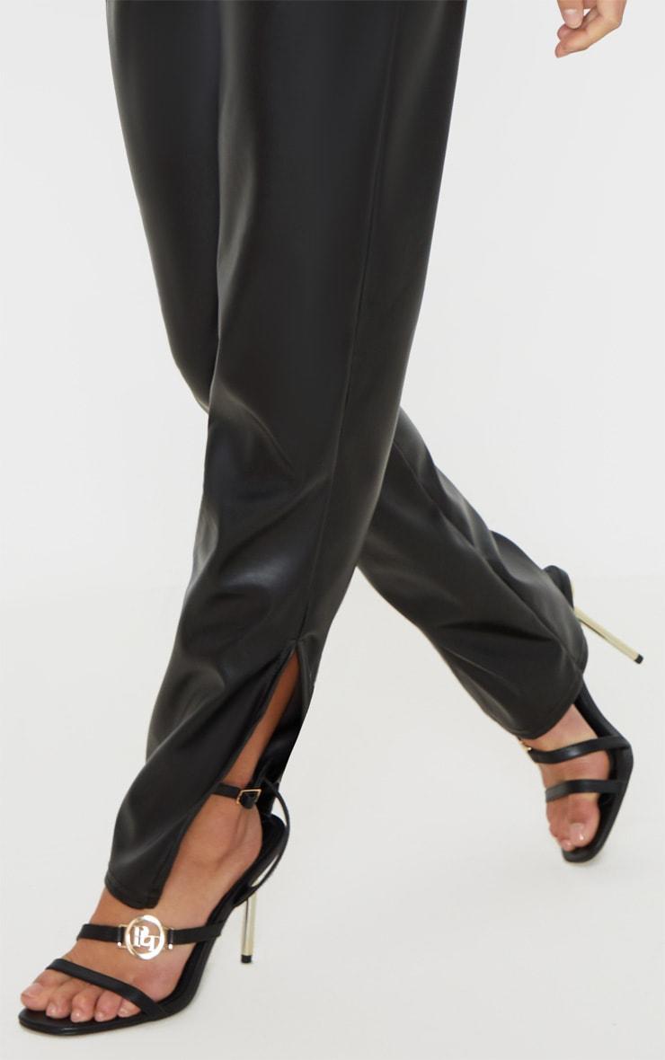 Petite Black Split Hem Flared PU Pants 5