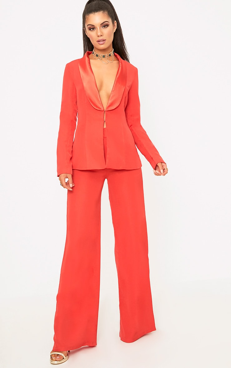 Red Wide Leg Suit Trousers 5