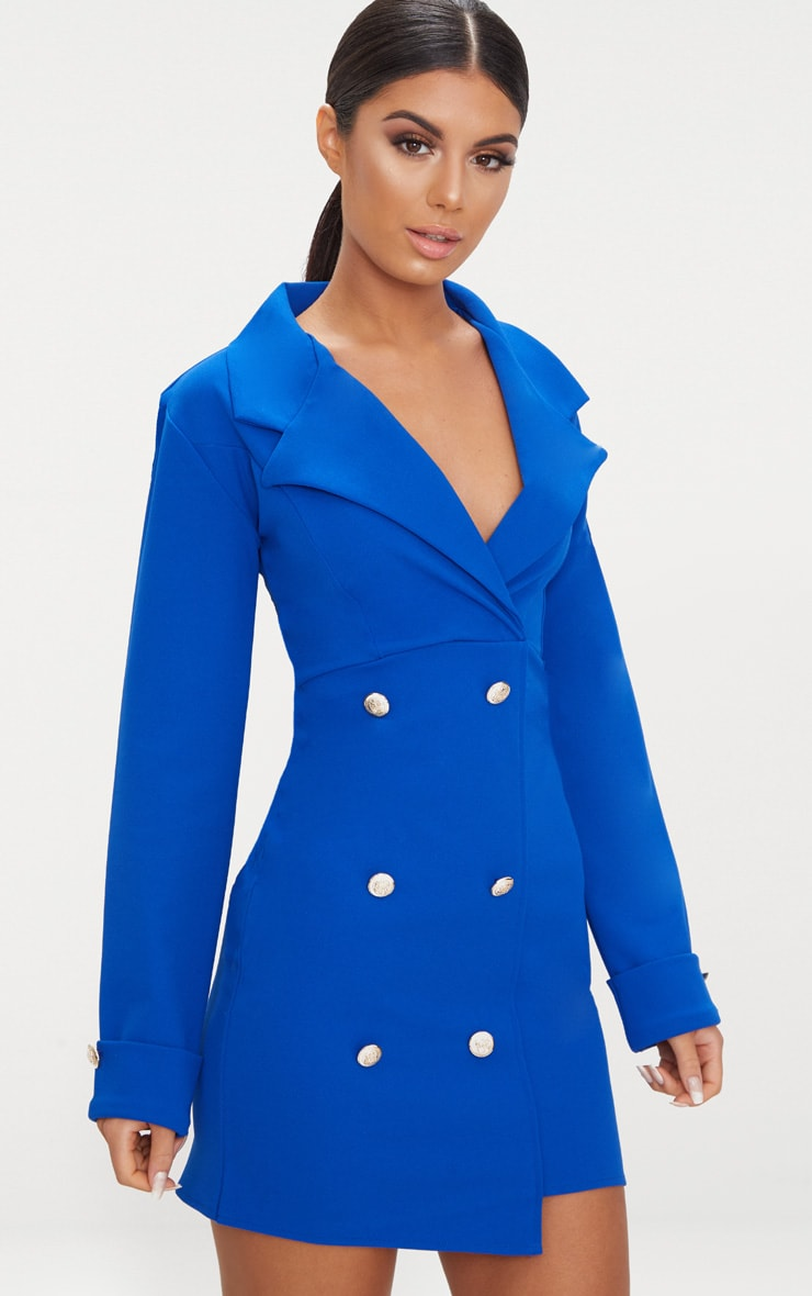 Cobalt Gold Button Detail Blazer Dress 1