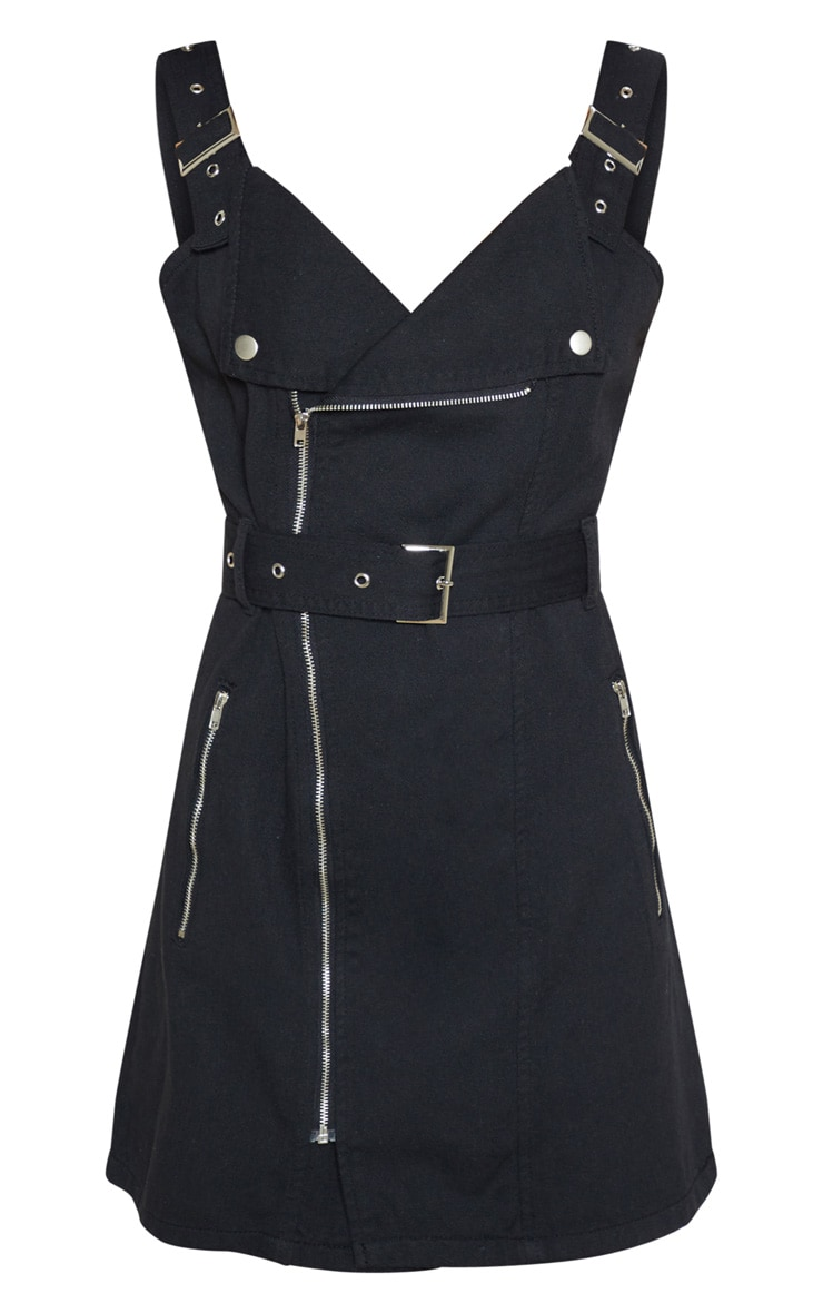 Black Belted Popper Collar Denim Dress 3