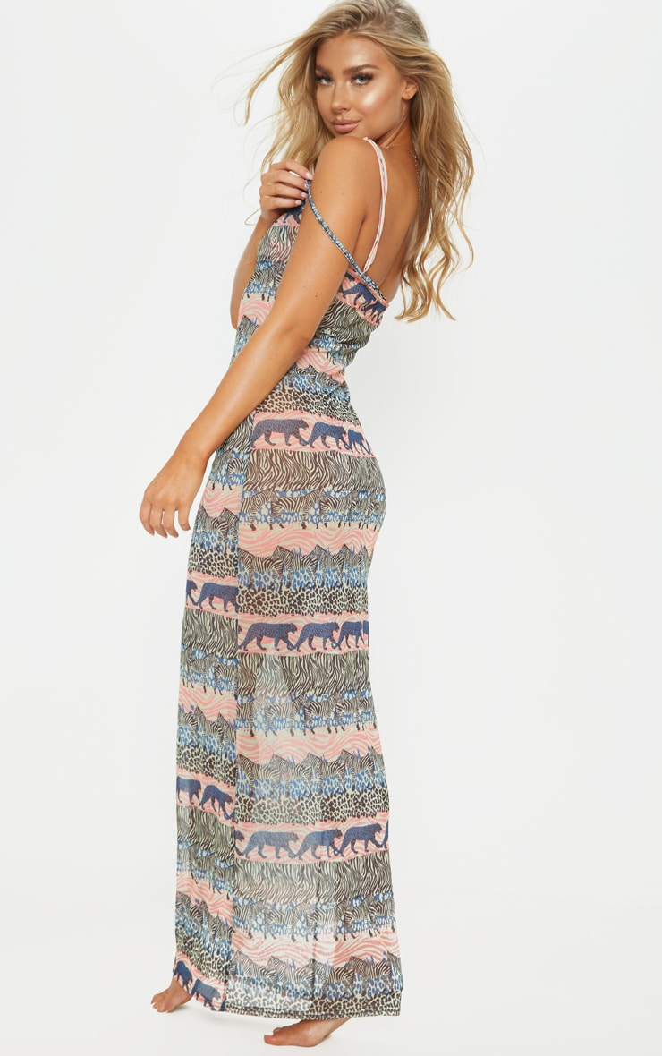 Blue Zebra Safari Mesh Maxi Beach Dress 2