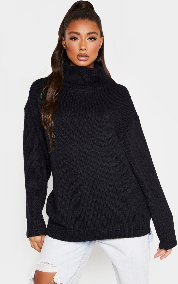 Black High Neck Fluffy Knit Sweater 1