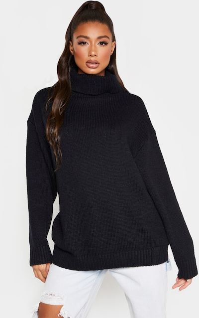 Black High Neck Fluffy Knit Jumper