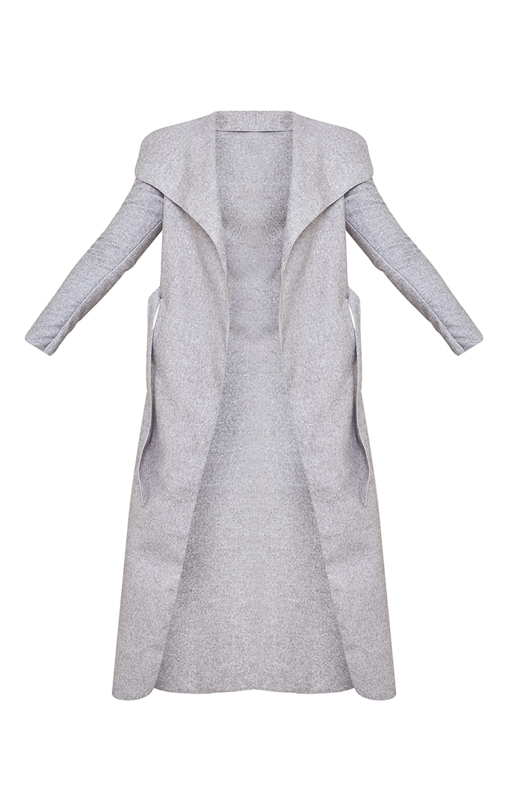 Tall Grey Maxi Length Oversized Waterfall Belted Coat 5
