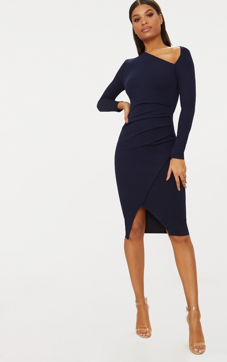 Navy Asymmetric Neck Pleated Wrap Midi Dress 1