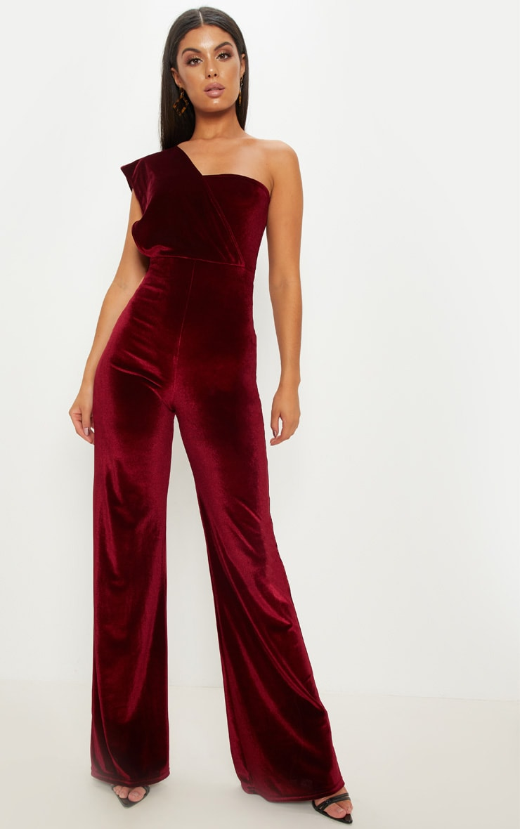 Burgundy Velvet Drape One Shoulder Jumpsuit 1