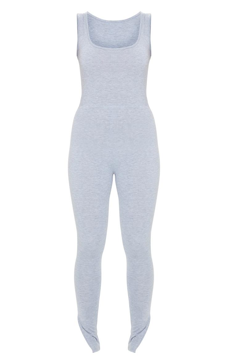 Grey Square Neck Split Hem Jersey Jumpsuit 5