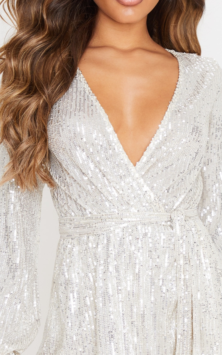 Silver Tie Waist Wrap Shift Dress 5