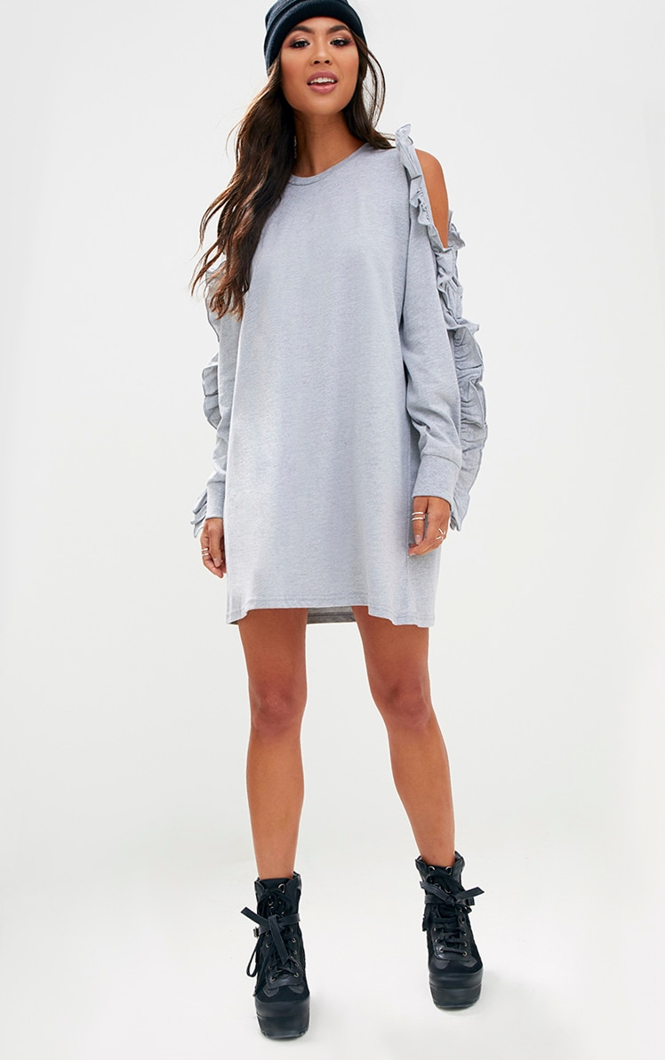 Grey Marl Frill Cold Shoulder T Shirt Dress 3