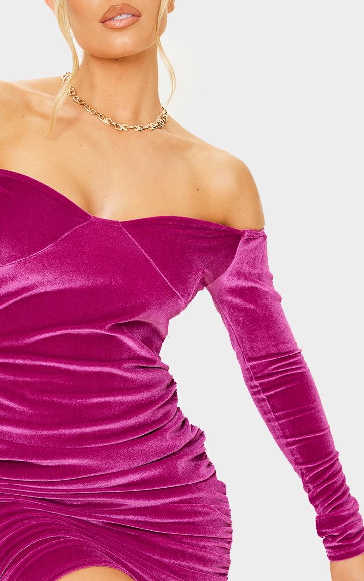 Pink Velvet Cup Detail Bardot Bodycon Dress 4