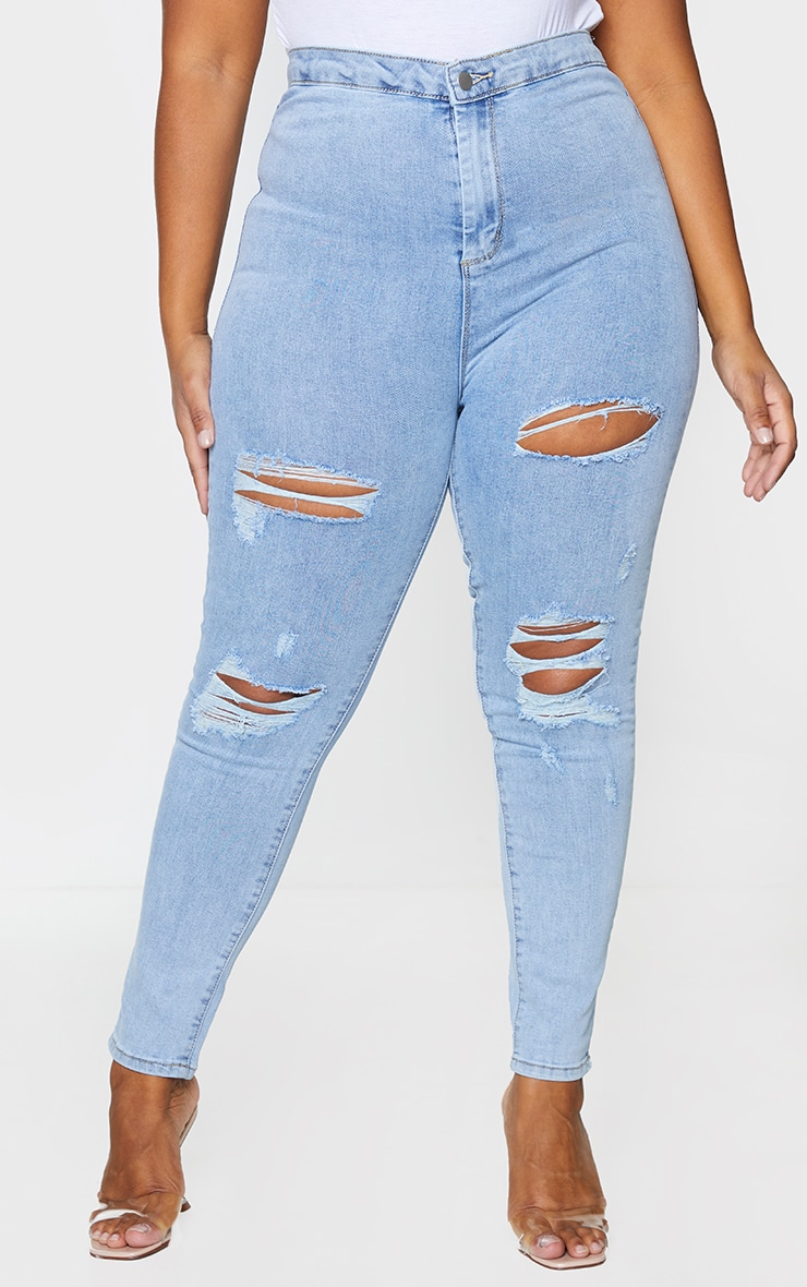 PRETTYLITTLETHING Plus Vintage Wash Distressed Disco Skinny Jean 2
