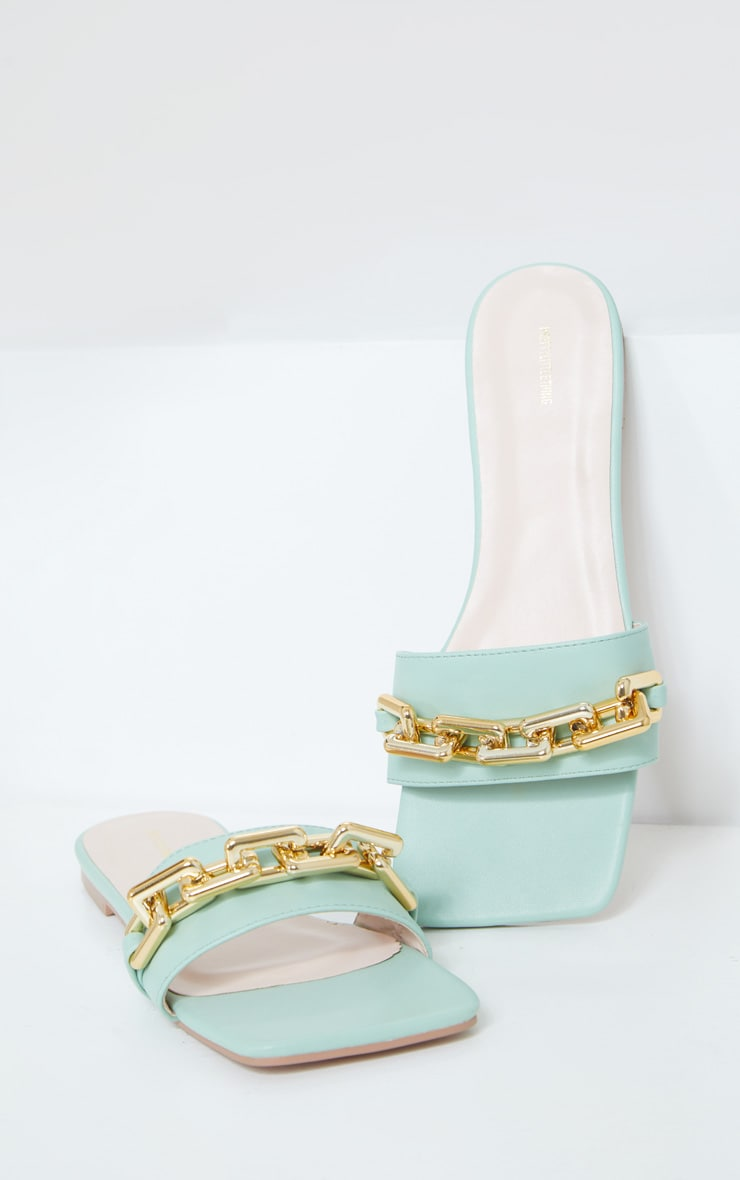 Sage Green Square Toe Chain Detail Leather Mule Flat Sandals 3
