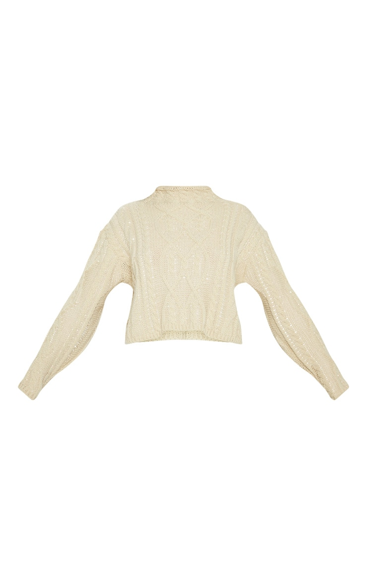 Stone Chunky Knitted Cable Jumper  3