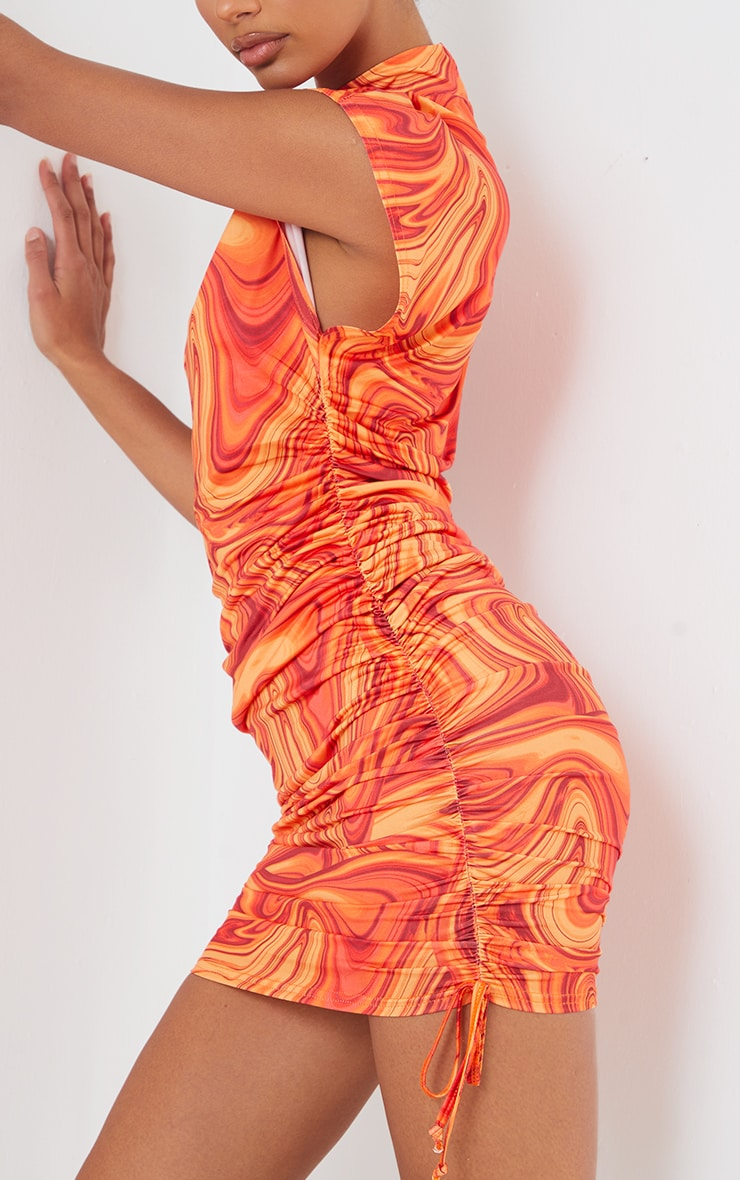 Orange Marble Print Slinky Sleeveless High Neck Ruched Bodycon Dress 4