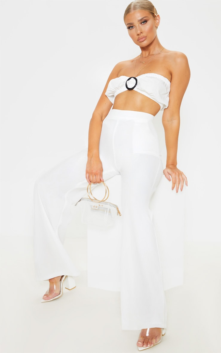 White Shirred Ring Front Bandeau Bralet 4