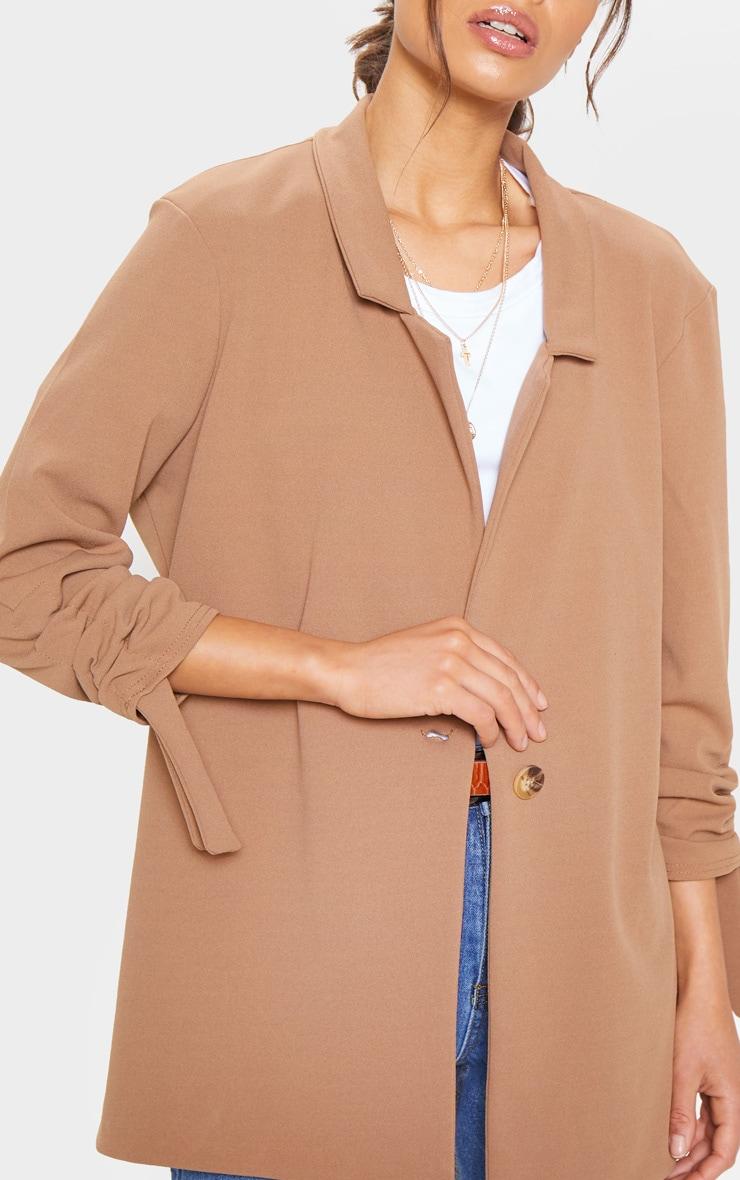 Camel Ruched Sleeve Blazer 5