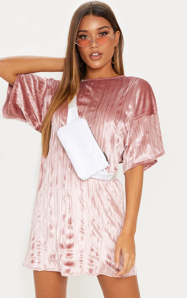 Dusty Pink Velvet Rib Oversized T Shirt Dress