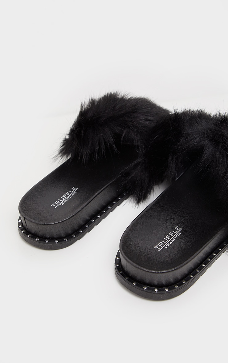 Black Faux Fur Studded Slides 4