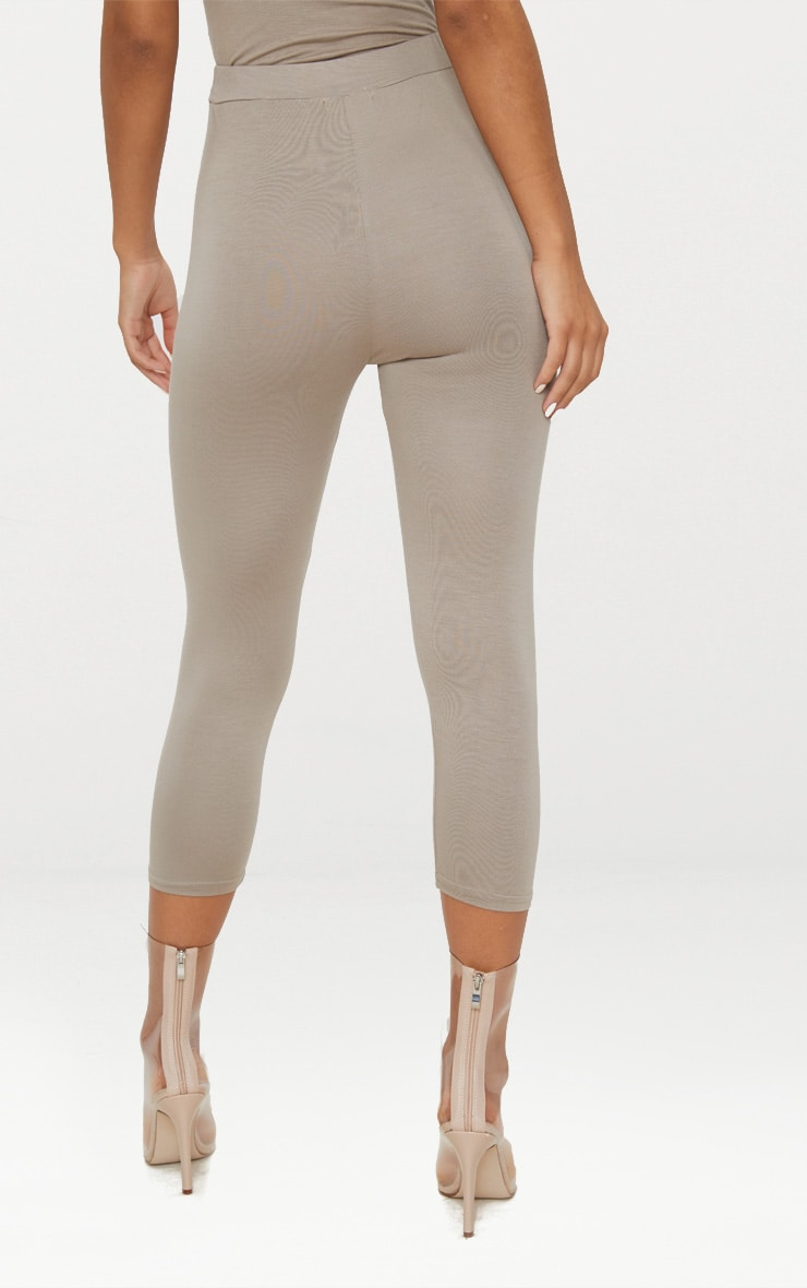Taupe Basic Cropped Jersey Leggings  4