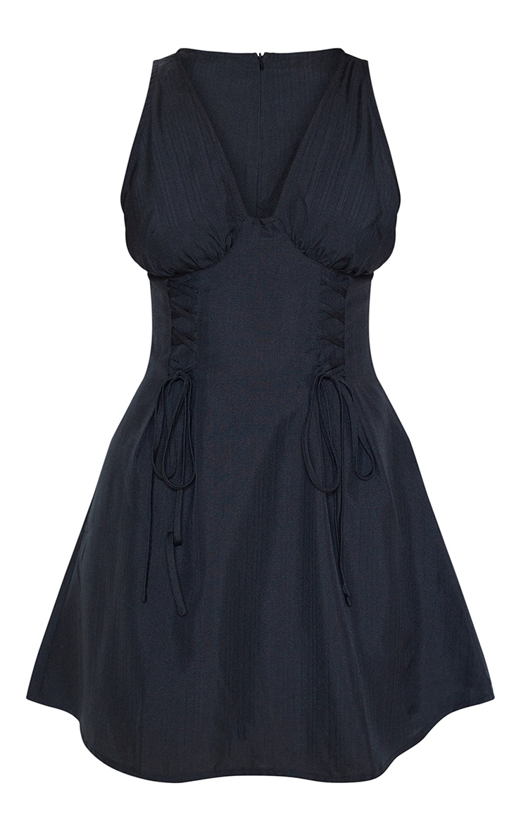 Black Woven Lace Up Cup Detail Shift Dress 3