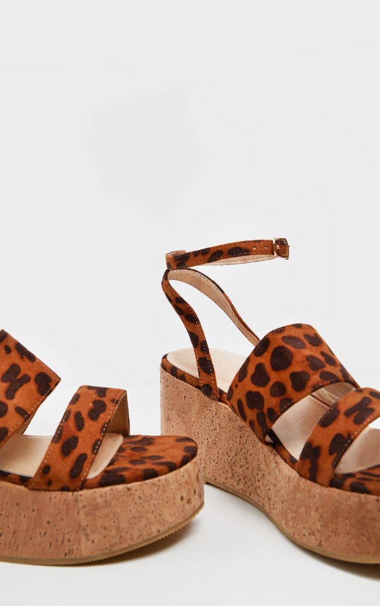 Leopard Twin Strap Cork Flatform Sandal 4