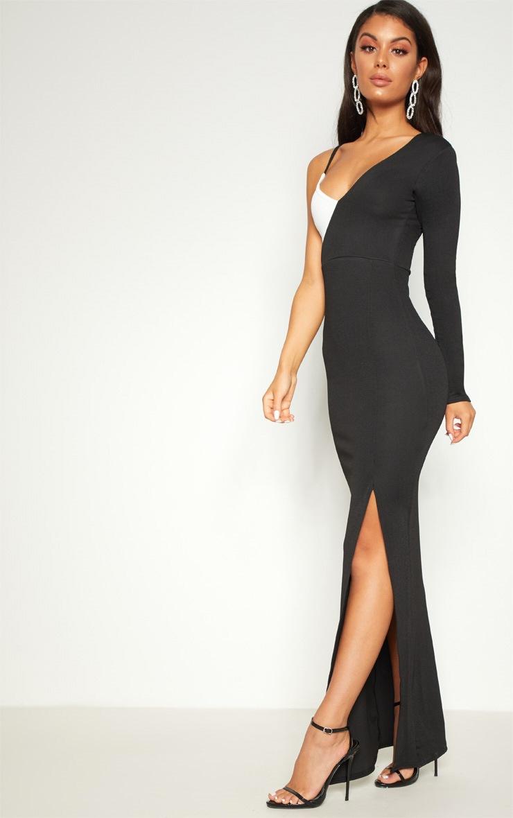 Black Colour Block Asymmetric Sleeve Maxi Dress 4
