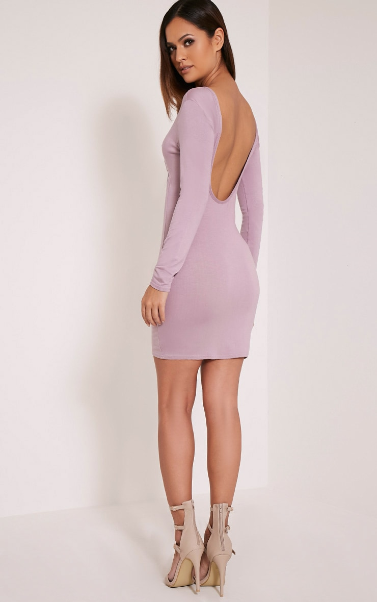 Basic Mauve Scoop Back Bodycon Dress 5