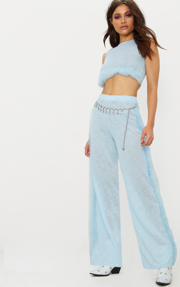 Blue Feather Trim Wide Leg Knitted Trousers