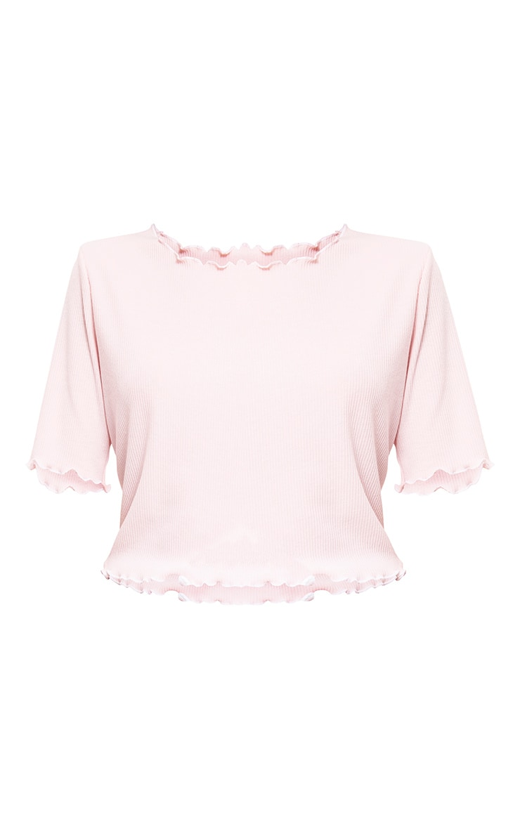Baby Pink Frill Contrast Edge Crop Top 3