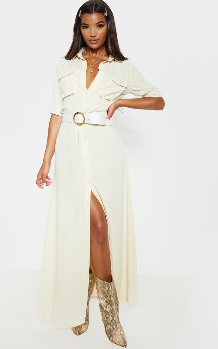 Cream Short Sleeve Maxi Shirt Dress  1