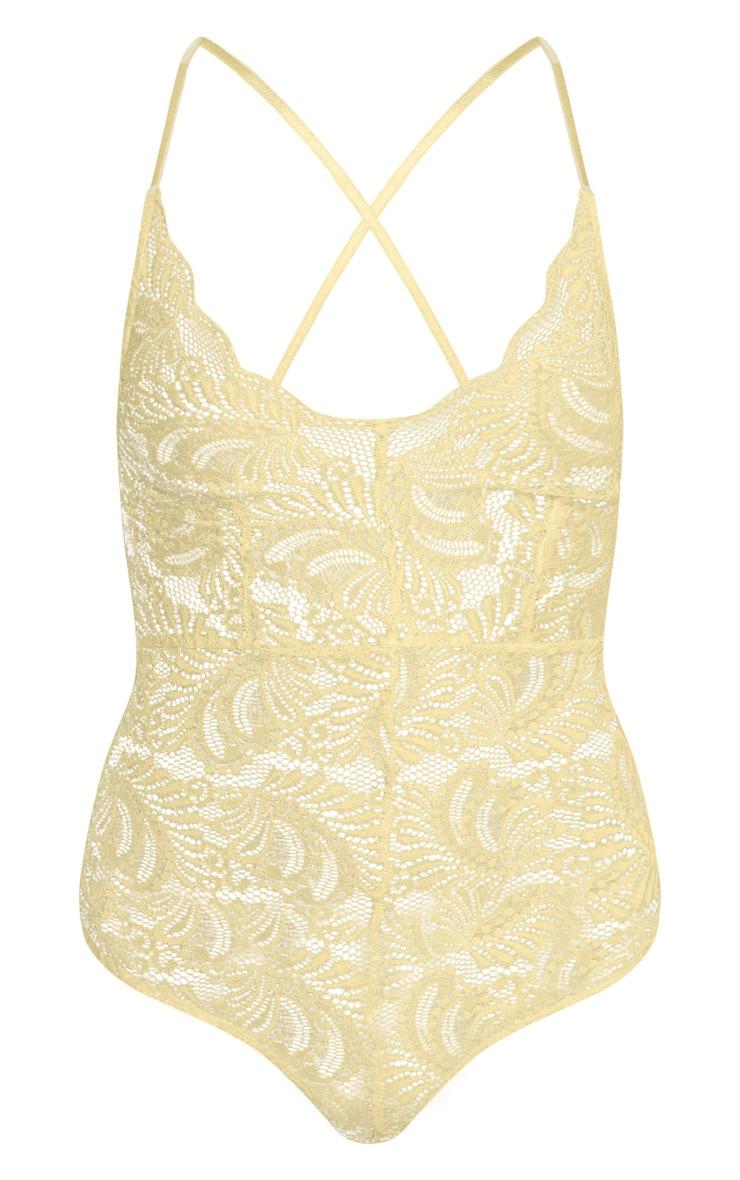Lemon Sheer Lace Cross Back Bodysuit 3