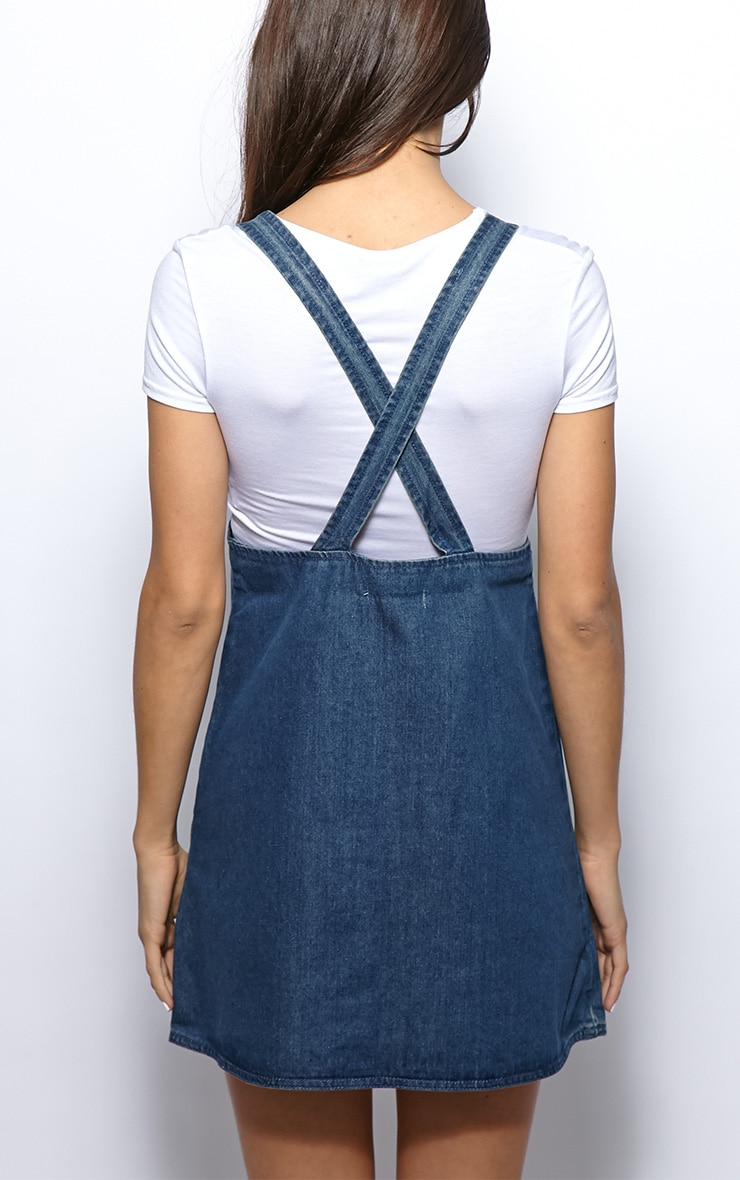 Mollie Denim Bottom Pocket Dungaree Dress 2