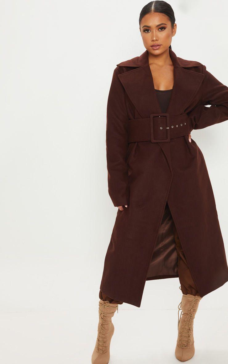 Petite Chocolate Brown Belted Coat 1