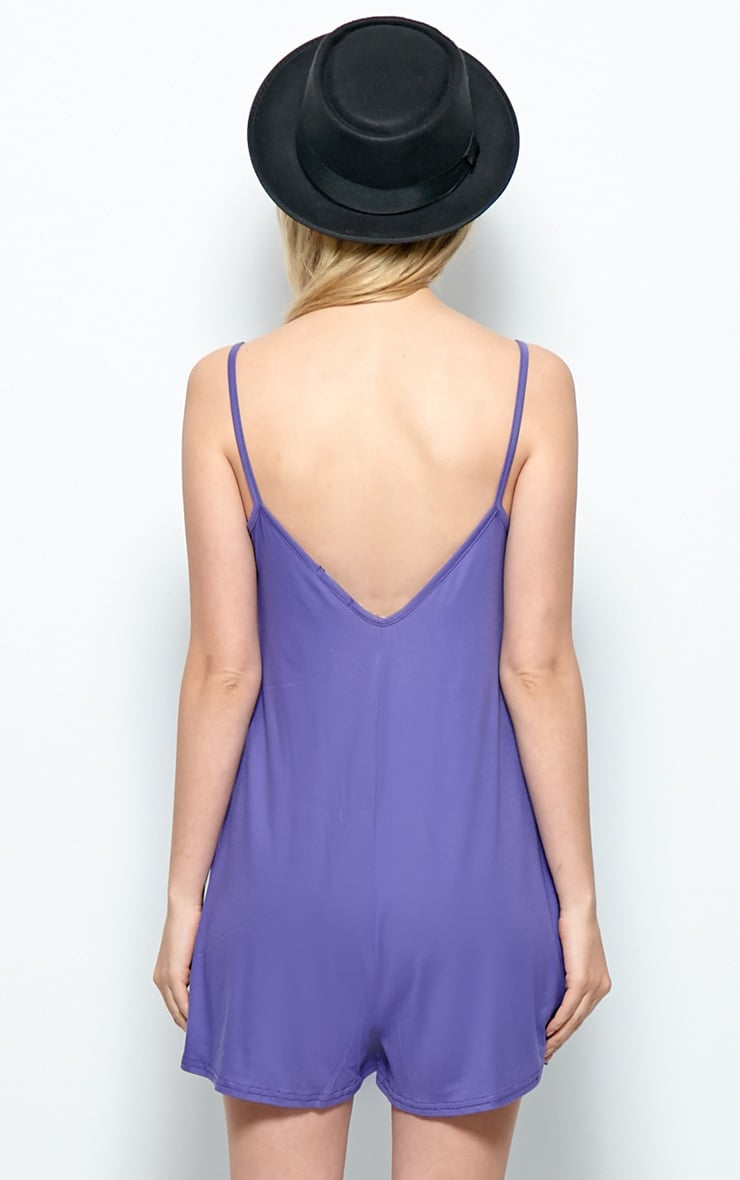 Isabel Purple Strappy Swing Playsuit 2