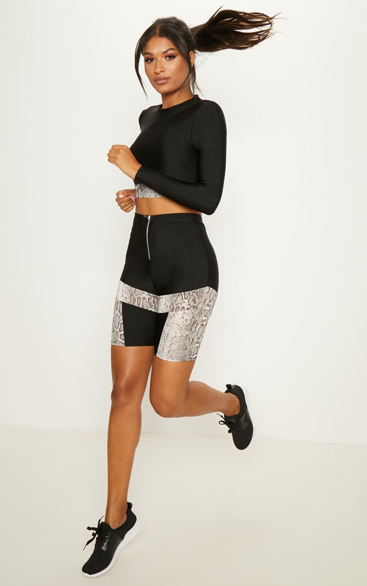 Snake Panelled Cycling Shorts