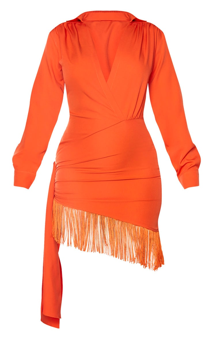 Orange Long Sleeve Tassel Hem Drape Detail Bodycon Dress 3