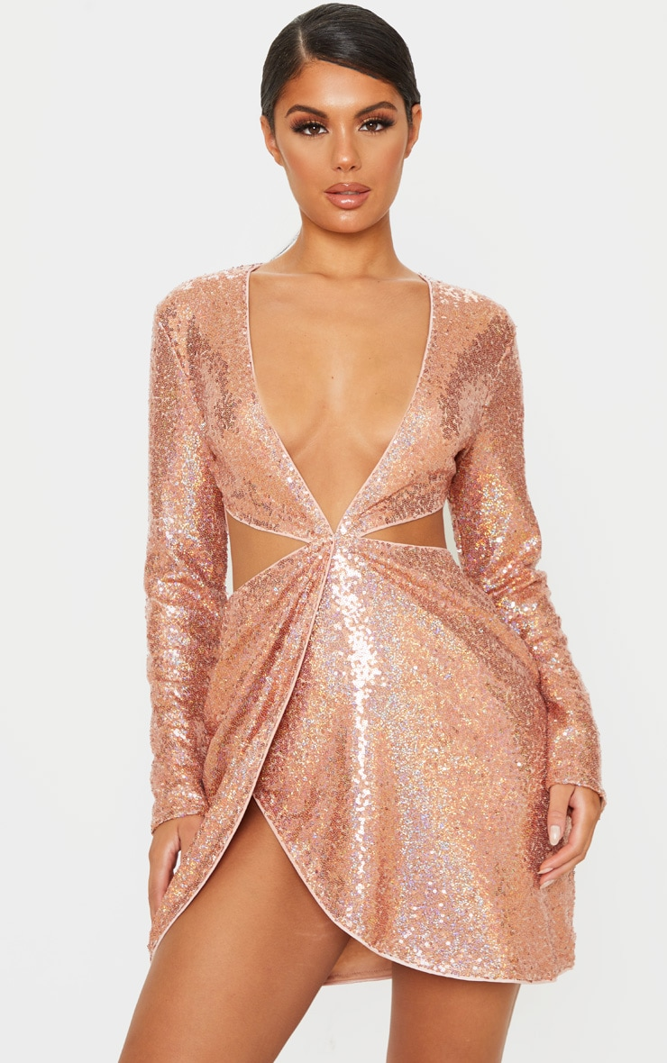 Rose Gold Sequin Long Sleeve Waist Cut Out Bodycon Dress 1