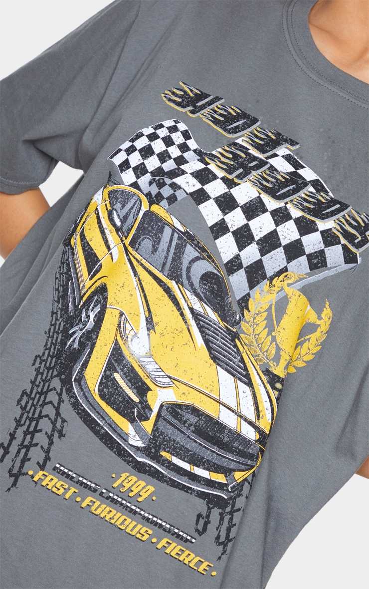 Charcoal Hot Rod Car Print T Shirt 4